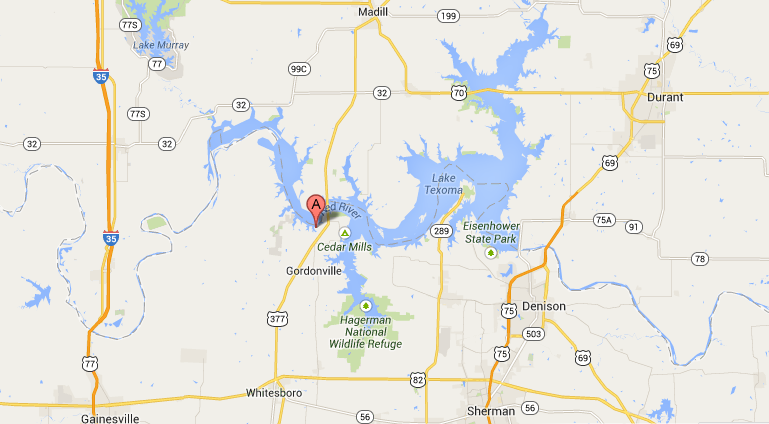 Google Map of Cross Timbers Trail on Lake Texoma